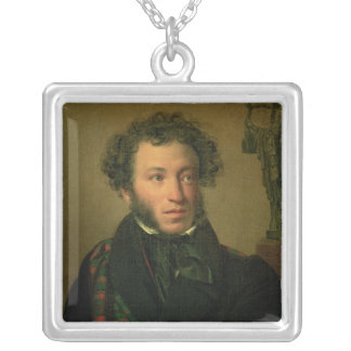 Portrait of Alexander Pushkin, 1827 Silver Plated Necklace
