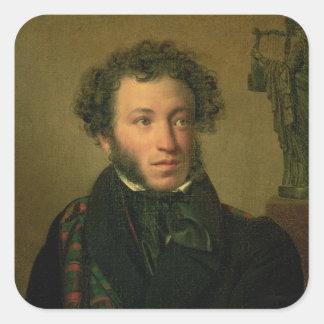 Portrait of Alexander Pushkin, 1827 Square Sticker