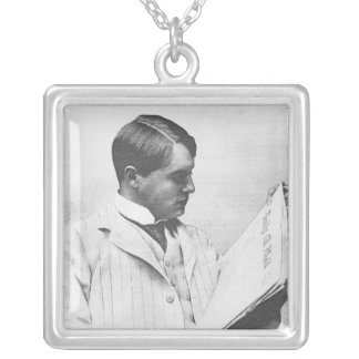 Portrait of Alfred Harmsworth, 1897 Silver Plated Necklace