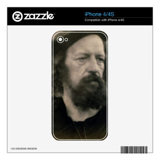 Portrait of Alfred, Lord Tennyson (1809-92) (b/w p Decals For The iPhone 4