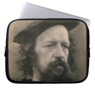 Portrait of Alfred, Lord Tennyson (1809-92) (b/w p Laptop Computer Sleeves