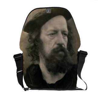 Portrait of Alfred, Lord Tennyson (1809-92) (b/w p Messenger Bag