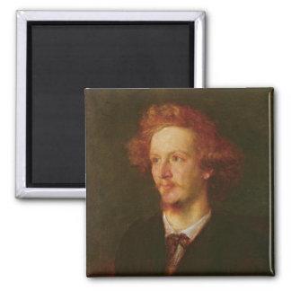 Portrait of Algernon Charles Swinburne  1867 2 Inch Square Magnet