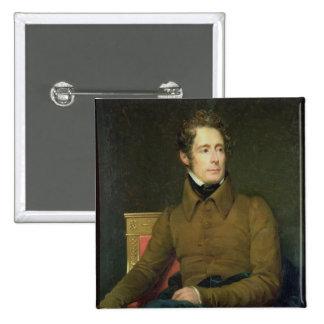 Portrait of Alphonse de Lamartine , 1831 Pinback Button