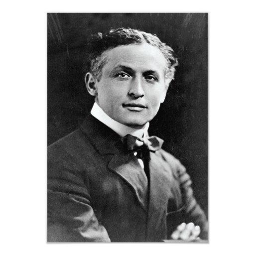 Portrait of American Magician Harry Houdini 3.5x5 Paper Invitation Card