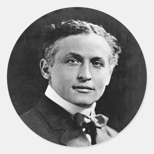 Portrait of American Magician Harry Houdini Classic Round Sticker