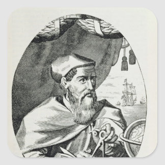 Portrait of Amerigo Vespucci Square Sticker