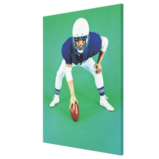 Portrait of An American Football Player Holding Canvas Print