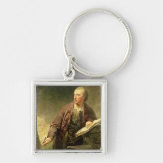 Portrait of an Artist, Traditionally Believed to b Silver-Colored Square Keychain