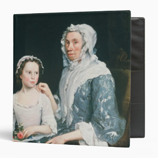 Portrait of an Elderly Lady and a Young Girl 3 Ring Binder