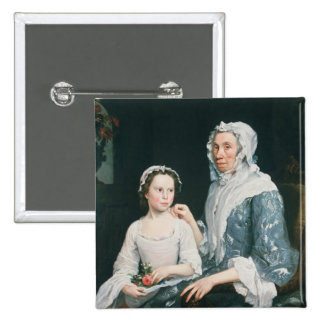 Portrait of an Elderly Lady and a Young Girl Button