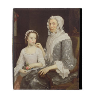 Portrait of an Elderly Lady and a Young Girl (oil iPad Folio Cases