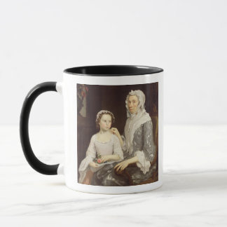 Portrait of an Elderly Lady and a Young Girl (oil Mug