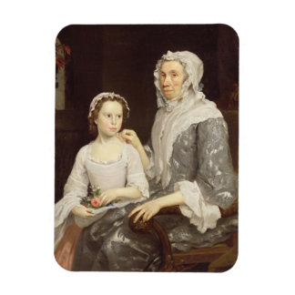Portrait of an Elderly Lady and a Young Girl (oil Rectangular Photo Magnet