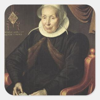 Portrait of an Elderly Woman, 1603 Square Sticker