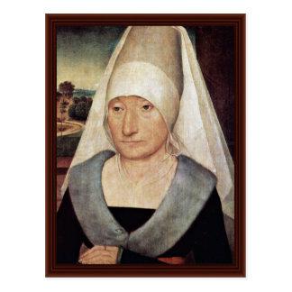Portrait Of An Elderly Woman By Memling Hans Postcard