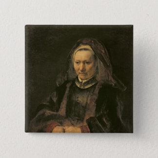Portrait of an Elderly Woman, c. 1650 Pinback Button