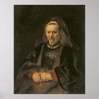 Portrait of an Elderly Woman, c. 1650 Posters