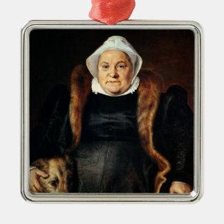 Portrait of an Elderly Woman Square Metal Christmas Ornament