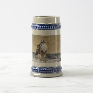 Portrait of an Immature Red Tailed Hawk Beer Stein