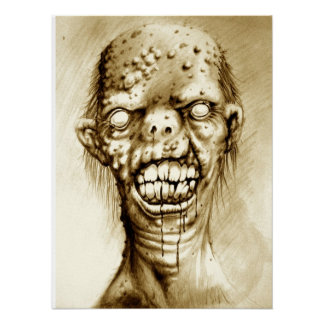 Portrait of an irradiated zombie with a cleft lip posters