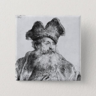 Portrait of an old man pinback button