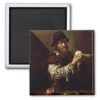 Portrait of an Old Man with an Onion (oil on canva 2 Inch Square Magnet
