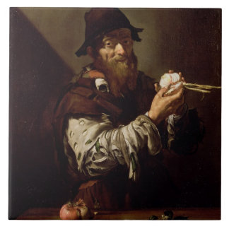 Portrait of an Old Man with an Onion (oil on canva Ceramic Tile