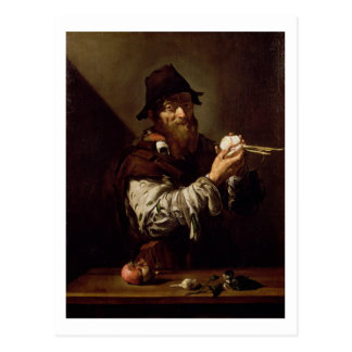 Portrait of an Old Man with an Onion (oil on canva Postcard
