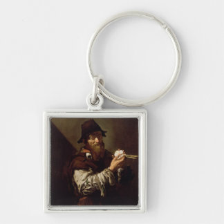 Portrait of an Old Man with an Onion (oil on canva Silver-Colored Square Keychain