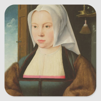 Portrait of an Unknown Lady, 1527 (oil on panel) Square Sticker