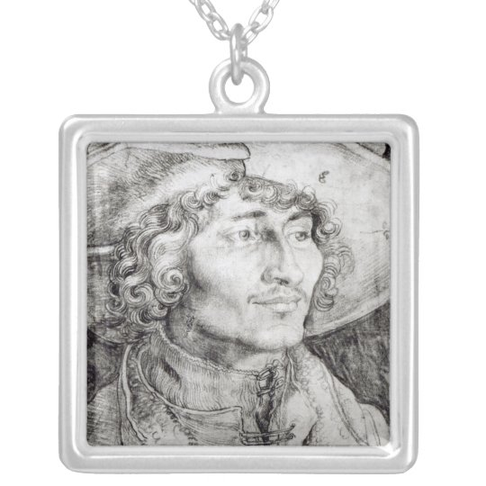 Portrait of an unknown man, 1521 silver plated necklace
