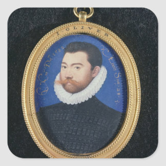 Portrait of an unknown man, aged 28, 1582 (w/c on square sticker