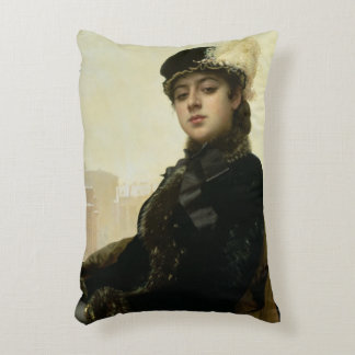 Portrait of an Unknown Woman, 1883 Accent Pillow