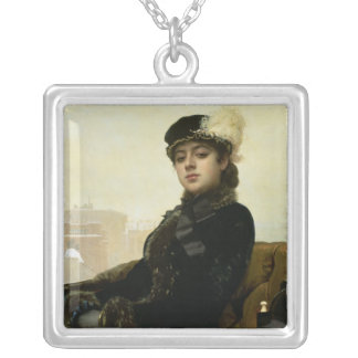 Portrait of an Unknown Woman, 1883 Silver Plated Necklace