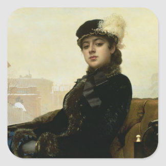 Portrait of an Unknown Woman, 1883 Square Sticker