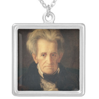 Portrait of Andrew Jackson Square Pendant Necklace
