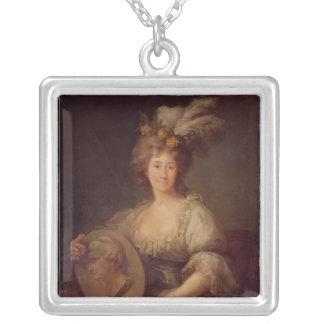 Portrait of Anne Biron  Princess of Courland Square Pendant Necklace