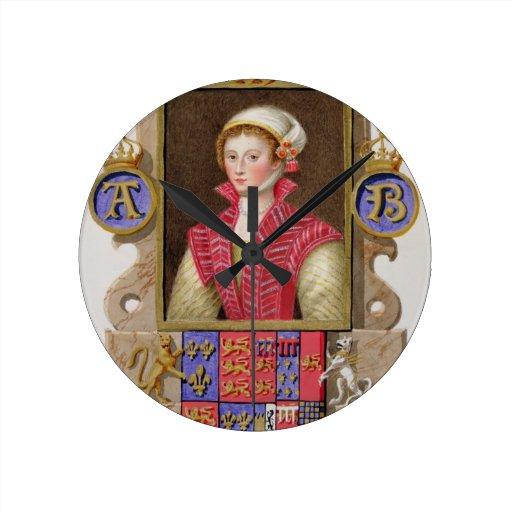 Portrait of Anne Boleyn (1507-36) 2nd Queen of Hen Round Wallclock
