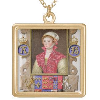 Portrait of Anne Boleyn (1507-36) 2nd Queen of Hen Gold Plated Necklace