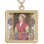 Portrait of Anne Boleyn (1507-36) 2nd Queen of Hen Square Pendant Necklace