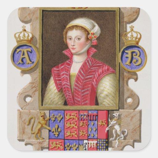 Portrait of Anne Boleyn (1507-36) 2nd Queen of Hen Square Sticker
