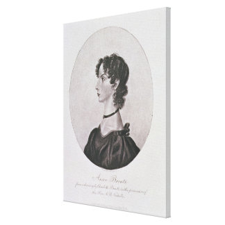 Portrait of Anne Bronte (1820-49) from a drawing i Canvas Print