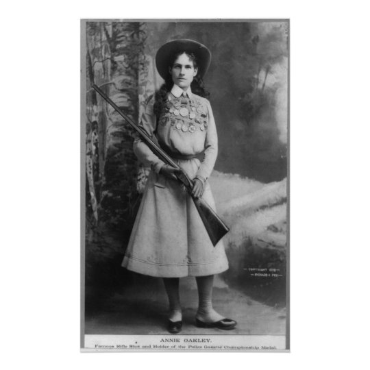 Portrait of Annie Oakley born Phoebe Ann Mosey Poster