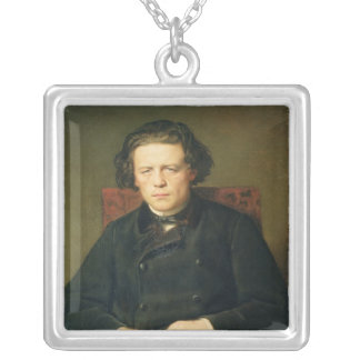 Portrait of Anton Rubinstein  1870 Silver Plated Necklace