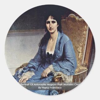 Portrait Of Antonietta Negroni Prati Morosini Oval Classic Round Sticker