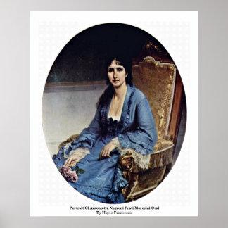 Portrait Of Antonietta Negroni Prati Morosini Oval Print