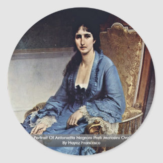 Portrait Of Antonietta Negroni Prati Morosini Oval Round Sticker