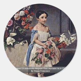 Portrait Of Antonietta Negroni Prati Morosini Classic Round Sticker