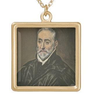 Portrait of Antonio de Covarrubias y Leiva (1514-1 Gold Plated Necklace